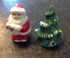 Vintage Santa Christmas Tree Salt And Pepper Shaker Set Ceramic