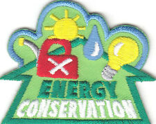 """""""ENERGY CONSERVATION"""" PATCH- Iron On Embroidered Applique/World, Universe,Earth"""