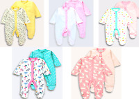 Baby Girls/Boys 100% Cotton PACK 2 Sleepsuit Babygrow Playsuit Bodysuit Rompers