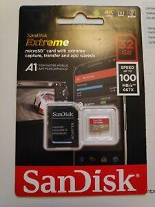 Sandisk Micro SDHC Karte 32GB Extreme UHS-I U3 4K 100 MB/s V30 A1 Class 10