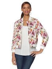 COLLEEN LOPEZ Size S Flattering Floral Print Bomber Jacket IVORY FLORAL