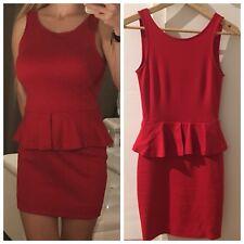 Zara Trafaluc Stretch Peplum Schößchen Kleid Minikleid Rot Weihnachten XS 32-34