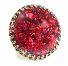 SoHo® Ring vintage bronze bohemia 1960er Jahre handgemachtes Glas red fireopal