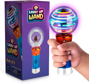 Spinning Light-Up Wand for Kids in Gift Box, Rotating LED Toy Wand for Boys and