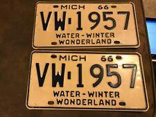 Pair VINTAGE 1966 MICHIGAN LICENSE PLATE  VW-1957 Water Winter Wonderland