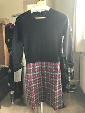 Paul Costelloe Soft Merino Jumper Dress Black & Red With Back Zip Sz L (10-12)