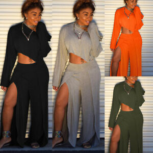 Womens One Shuolder Long Sleeve Cocktail Split Pants 2PCS Outfits Set Jumpersuit