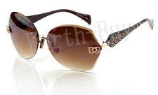 DG Womens Retangular Simi-Rimless Eyewear Designer Sunglasses Brown DG138