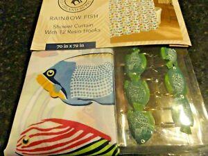 new 13 pc Caribbean Joe colorful Rainbow Fish green HOOKS  fabric Shower Curtain