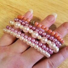 Shades Of Pink Stretch Bracelet Lot, five beaded bracelets