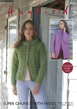 Sirdar 8025 Knitting Pattern Womens Jackets in Hayfield Super Chunky With Wool