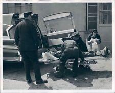 1962 Press Photo Hempstead NY Police Put Auto Accident Victim in Ambulance