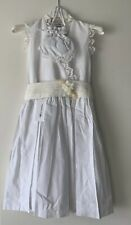 Marie Amelie Holy Communion, Bridesmaid Dress White Lace with Flower + Bag Age 8