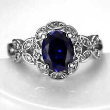 CNL111 Handmade 3.20CT Natural Sapphire 14K White Gold Ring Size US 7