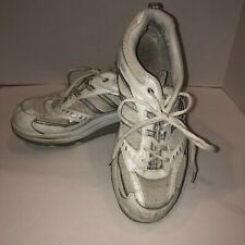 Skechers Women's Size 9 White Silver Shoes Shape Ups Walk Lace Up Leather Fabric