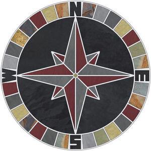 "18"" Tile Mosaic Medallion Natural Stone Mariners Compass Rose Black Multi Slate"