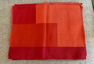 Crate & Barrel - Crossroads Red Orange Placemat - 14in x 19in - Set of 6