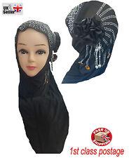 NUOVO Bambini Ragazza Hijab Jersey Nero Panno Sciarpa Testa Flessibile rapido musulmani DISP