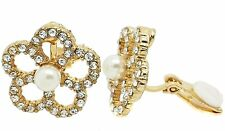 Flower Pearl Crystal Gold Clip On Earrings Ladies Studs  Diamante CZ Gatsby