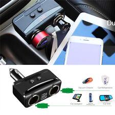 Car Voltmeter LCD 2USB 2Cigarette Lighter Socket Splitter Charger 12-24V Adapter