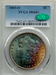 1885-O Morgan Silver Dollar PCGS MS65+ CAC Monster Color Toned