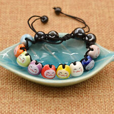 Ceramic Cat Beads Charm Lucky Bracelets For Fortune Money Health Adjustable 1PC