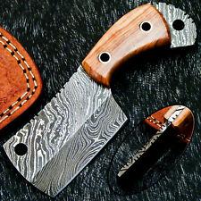 """Custom Handmade Damascus Steel Blade 5.0"""" Olive WOOD Mini Chopper Knife- WD-3495"""