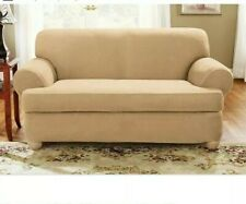 Sure Fit Furniture Slipcover Love Seat Stretch Cover Suede Color Camel Beige