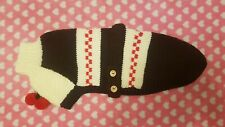 Hand Knitted Whippet Coat,White, Brown and Red, with Pom Poms 21""