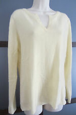 Peck & Peck CASHMERE Sweater Large Yellow V Neck 2-Ply