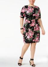 Karen Scott Plus Size Elbow Sleeve Casual T-Shirt Dress 2X Black Floral #3812