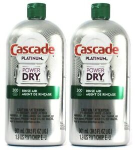 (2 Pack) Cascade Platinum Power Dry 300 Loads Rinse Aid Ultimate Clean 30.5 Oz