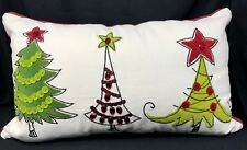 Pier 1 One Imports Christmas Throw Pillow Appliqué Needlework Embroidery