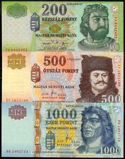 HUNGARY 200, 500, 1000 FORINT 2006-09 3 PC. SET UNC
