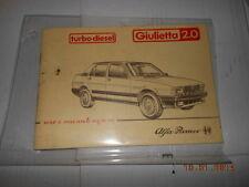 Alfa romeo giulietta 2000 20.0 turbo Diesel libretto uso e manutenzione d'epoca