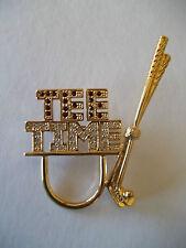 Tee Time  Brooch Pin Golf Clubs Gold tone & Rhinestones