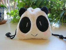 NWOT Panda Plush Drawstring Cosmetic Makeup Pencil Bag Soft & Cute