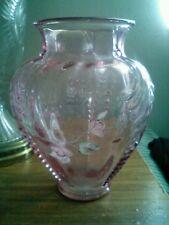 Signed large pink glass Fenton D Anderson vase