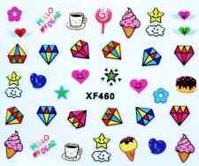 Nailart stickers ongles décalcomanie: diamants glaces coeurs étoiles cafés