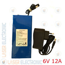 Batteria Tampone Ricaricabile a Litio 6V Volt 12.0AH Celle AAA + Charger 1.5AH