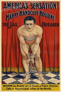 1900 early Houdini Jail Breaker Vintage Style Escape Artist Magic Poster - 16x24