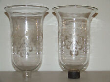 Antique 19th C.  Pair DEGRELLE Hand Blown Hurricane Lamp Shades Made in Belgium