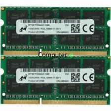 Micron 32GBKIT 2X16GB PC3L-12800S DDR3L-1600MHZ 1.35V SO-DIMM Laptop Memory Ram