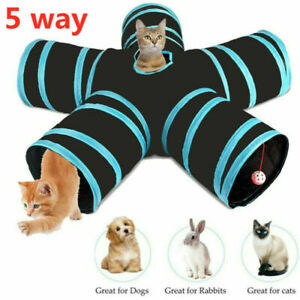 Pop Up 5 Way Cat Tunnel Pet Hides Puppy Tree Tube Kitten Play Toy Rabbit~