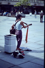 Vintage Kodachrome Slide Negative Street Performer, Lady with Dog Playing Guitar