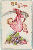 Vintage Postcard Divided Back Happy New Year Artist Signed Frances Brundage 1912