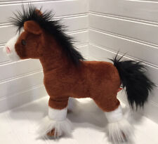 Wild Republic Plush Horse Stuffed Toy Clydesdale EUC Brown Black White