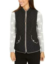 MSRP $70 Charter Club Quilted Stand-Collar Vest Black Size Medium