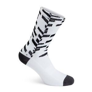 NEW Rapha Men's Cycling Socks Pro Team Data Print White Black Aero Large L RCC