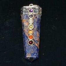 45-55 MM Natural 7 Chakra Sodalite Flat Sword Healing Chakra Balancing Pendant